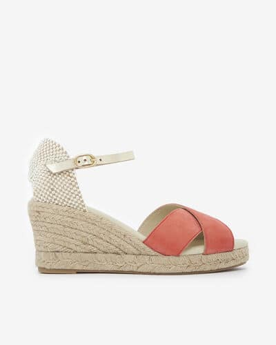 SANDALE COMPENSEE LIFANA/VEL, ROSE OR